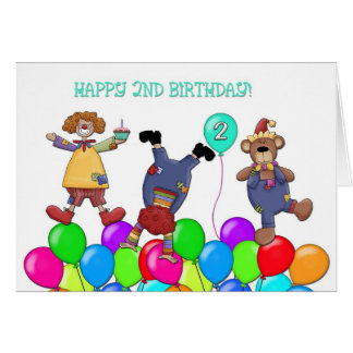 2nd Birthday Clowns Balloons Greeting Card