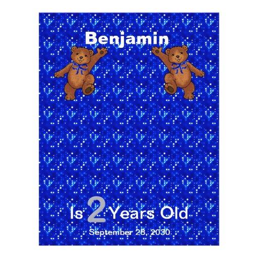 2nd Birthday Dancing Bear Scrapbook Paper 1 Flyer Design