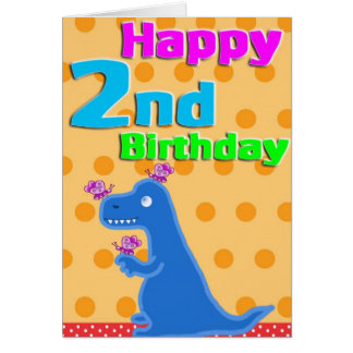 2nd birthday dino card