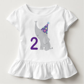 2nd Birthday Elephant 2 Year Old Tshirt