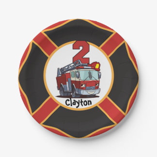 2nd Birthday Fire Truck Paper Plate