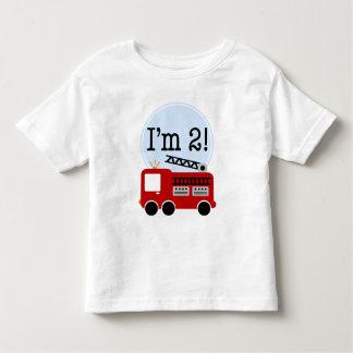 2nd Birthday Fire Truck Tshirt