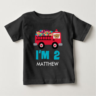 2nd Birthday Firetruck Fireman 2 Year old Shirt