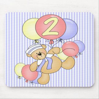 2nd Birthday Floating Bear Mouse Pad