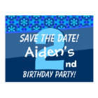 2nd Birthday for Boy Save the Date Blue V07A Postcard