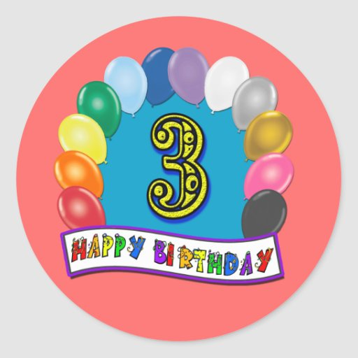 2nd Birthday Gifts with Assorted Balloons Design Round Stickers