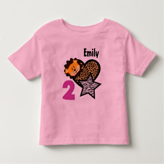 2nd Birthday Giraffe Heart Zebra Lion 2 Year Old 2 Toddler T-Shirt