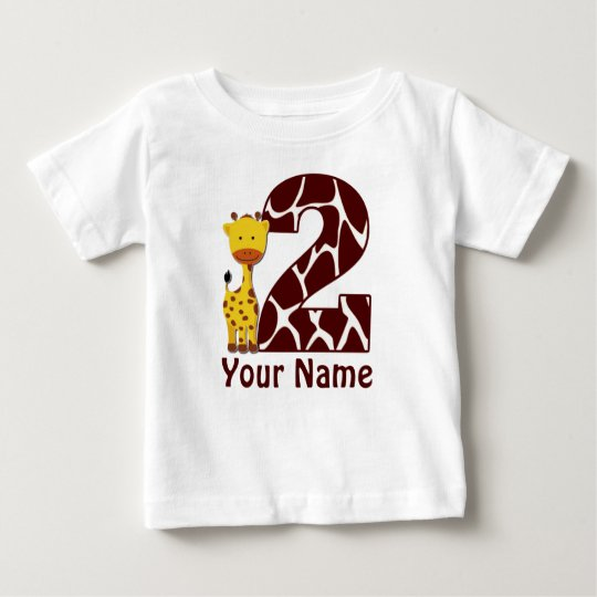 2nd Birthday Giraffe Personalised Shirt