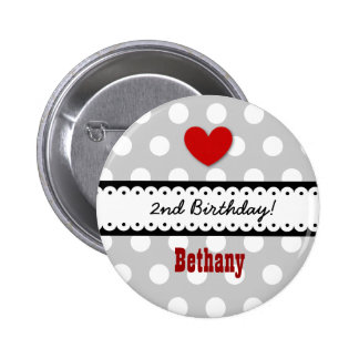 2nd Birthday Girl Heart and Scalloped Ribbon V2C 6 Cm Round Badge