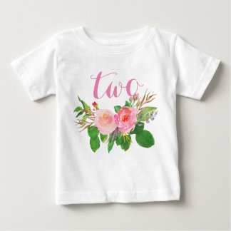 2nd Birthday Girl Watercolor Floral Personalized Baby T-Shirt