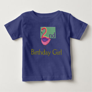 2nd Birthday Girl with a pink Flamingo Baby T-Shirt