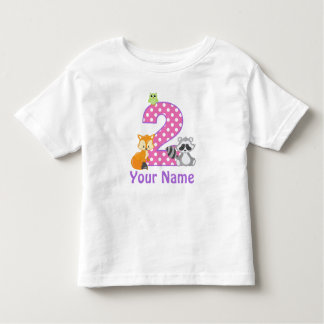 2nd Birthday Girl Woodland Animal Personalized Toddler T-Shirt