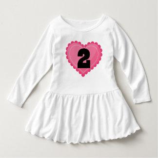 2nd Birthday Girls Heart 2 Year Old T-shirt Dress