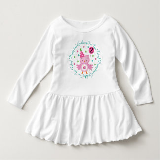 2nd Birthday Girls Owl 2 Year Old T-shirt Dress