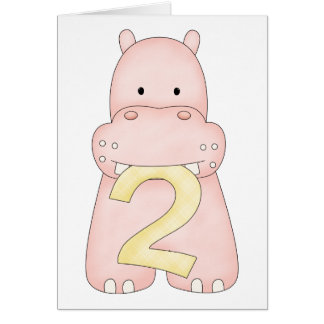 2nd Birthday Hippo (pink) Greeting Card
