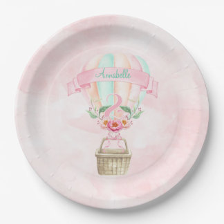 2nd Birthday Hot Air Balloon Mint Pink Peach Paper Plate
