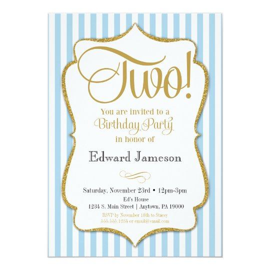 2nd Birthday Invitation Boys Two Years Blue Gold