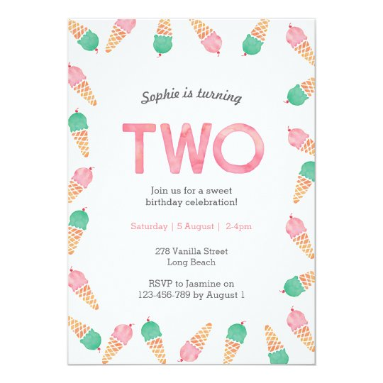 2nd Birthday Invitation | icecream party