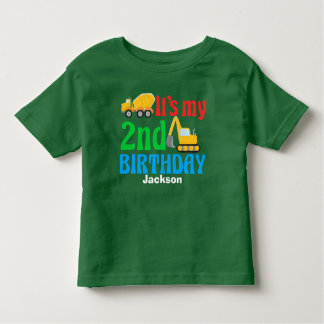 2nd Birthday Kids Construction Vehicle Party Toddler T-Shirt