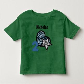 2nd Birthday Leopard Heart Zebra Lion 2 Year Old 3 T Shirts
