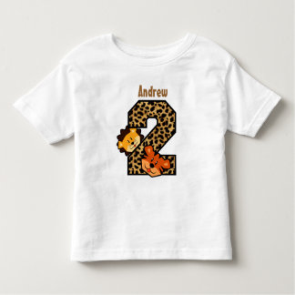 2nd Birthday Leopard Tiger Lion 2 Year Old T Shirt