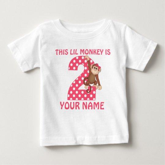 2nd Birthday Monkey Girl Personalised T-shirt
