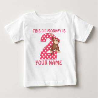 2nd Birthday Monkey Girl Personalized T-shirt
