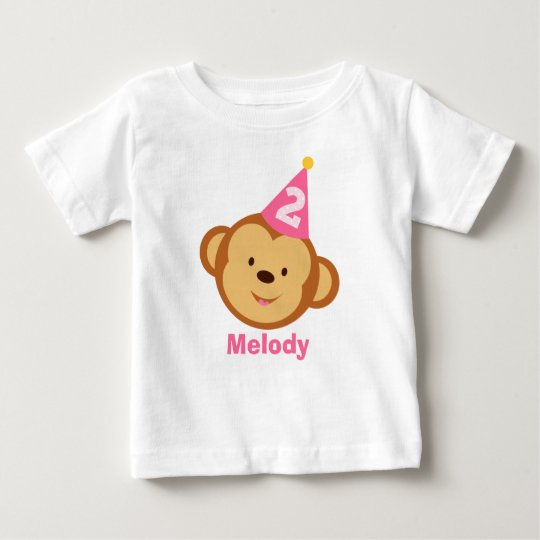 2nd Birthday Monkey Girl with Personalised Name Baby