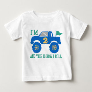 2nd Birthday Monster Truck Baby T-Shirt