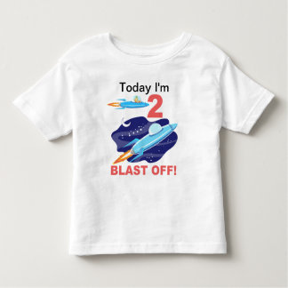 2nd Birthday Outer Space Ship Tshirt