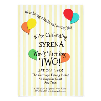 2nd Birthday Party Add a Photo Balloons Invitation