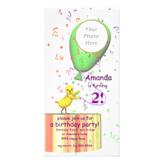 2nd Birthday Party Chicken Invite Green Balloon Picture Card