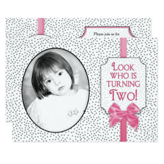 2nd BIRTHDAY Party Invitation -Bows & Polka Dots