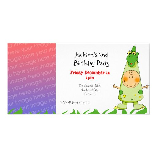 2nd birthday party invitations ( dragon costume ) personalized photo card