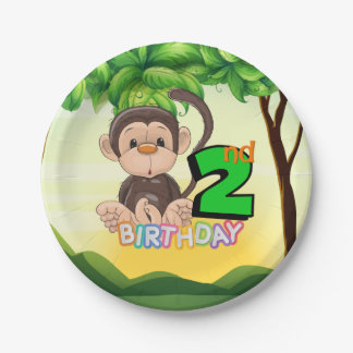2nd Birthday Party Monkey Paper Plate