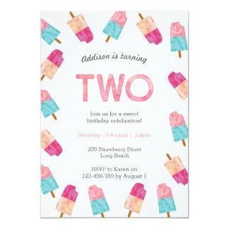 2nd Birthday Party   Popsicle Ice cream invitation