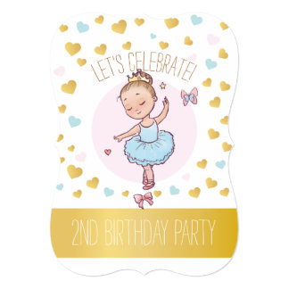2nd Birthday Party | Princess Ballerina in Tutu Card