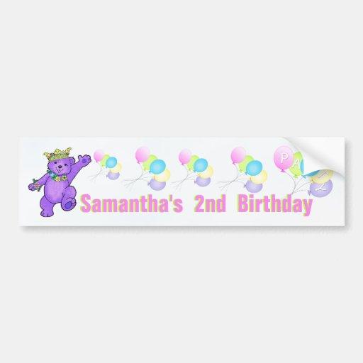 2nd Birthday Party Purple Princess Bear Bumper Stickers