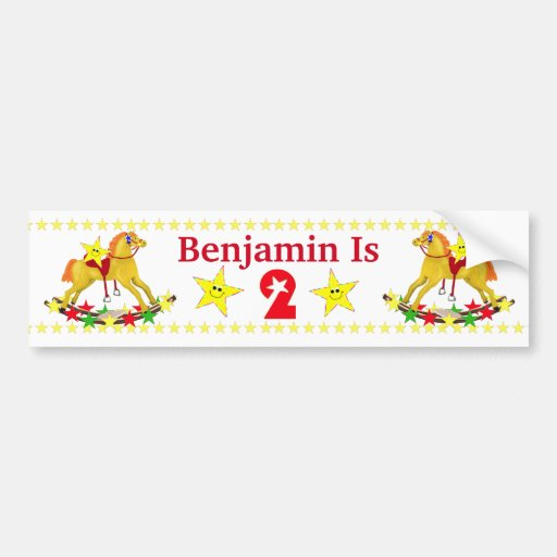 2nd Birthday Party Rocking Horse Bumper Stickers