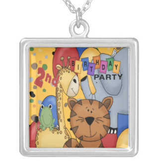 2nd Birthday Party Square Pendant Necklace