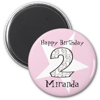2nd Birthday Pink Baseball Star Magnet