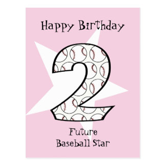 2nd Birthday Pink Baseball Star Postcard