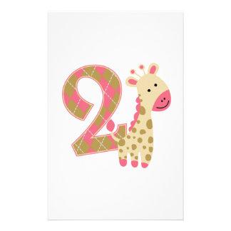 2nd Birthday Pink Giraffe Stationery