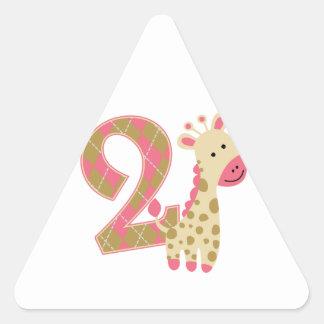 2nd Birthday Pink Giraffe Triangle Sticker