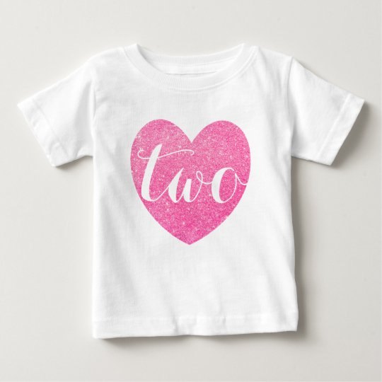 2nd Birthday Pink Glitter Heart-Print Personalise Baby T-Shirt