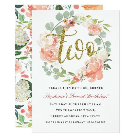 2nd Birthday Pink Gold Floral Wreath Invitation