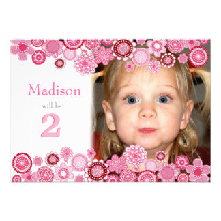 2nd Birthday Pink Party Number Photo Invitation