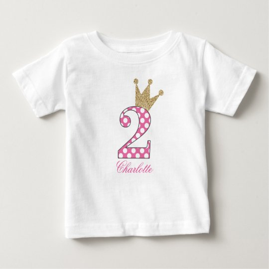 2nd Birthday|Polka Dots|Glitter-Print Personalised Baby T-Shirt