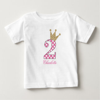 2nd Birthday|Polka Dots|Glitter-Print Personalized Baby T-Shirt