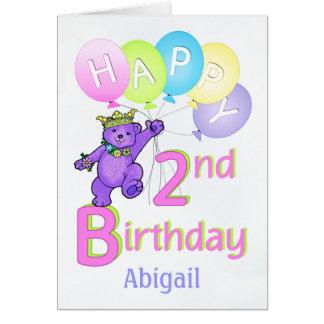 2nd Birthday Princess Bear, Custom Name Greeting Card